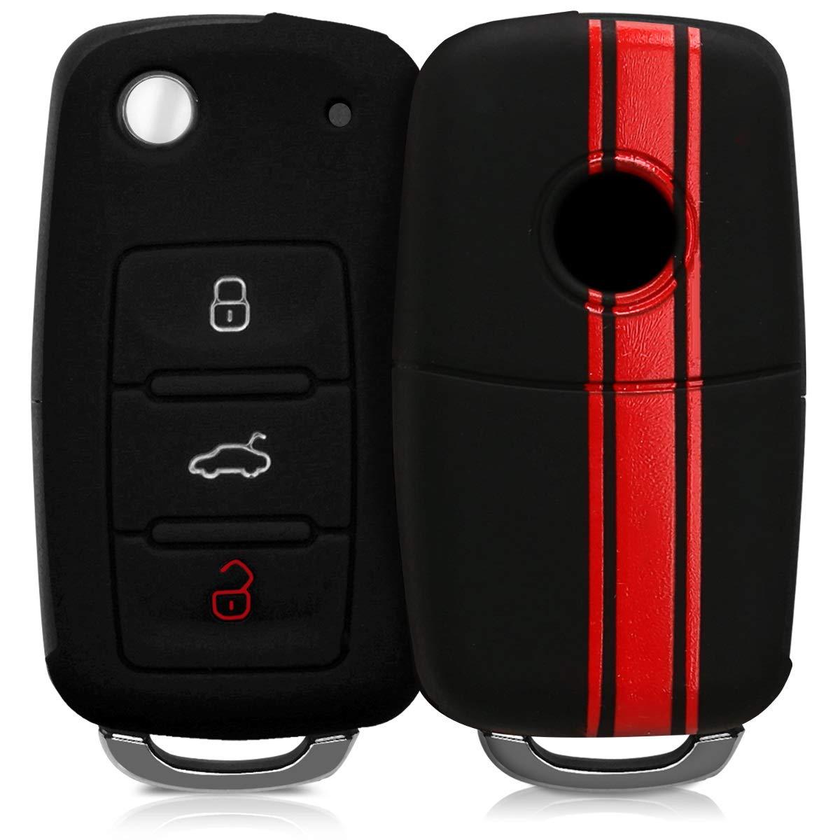 kwmobile Funda para Llave de 3 Botones para Coche VW Skoda Seat - Carcasa Protectora Suave de Silicona - Case de Mando de Auto con diseño de Rally