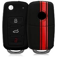 kwmobile Cover chiave auto VW Skoda Seat - Guscio protettivo coprichiave in morbido silicone TPU - Custodia per chiave VW Skoda Seat con 3 tasti