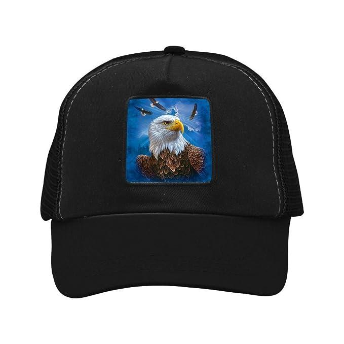cb4df9259cd Amazon.com  Ringkyo Trucker Hat Eagle Head Adjustable Black Cap ...