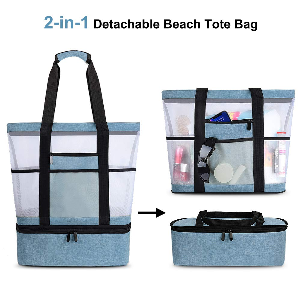 VBIGER Mesh Beach Tote Bag with Detachable Insulated Cooler Bag,Large Capacity Tote Bag Beach Gear Beach Essentials Bag Pool Bag for Women
