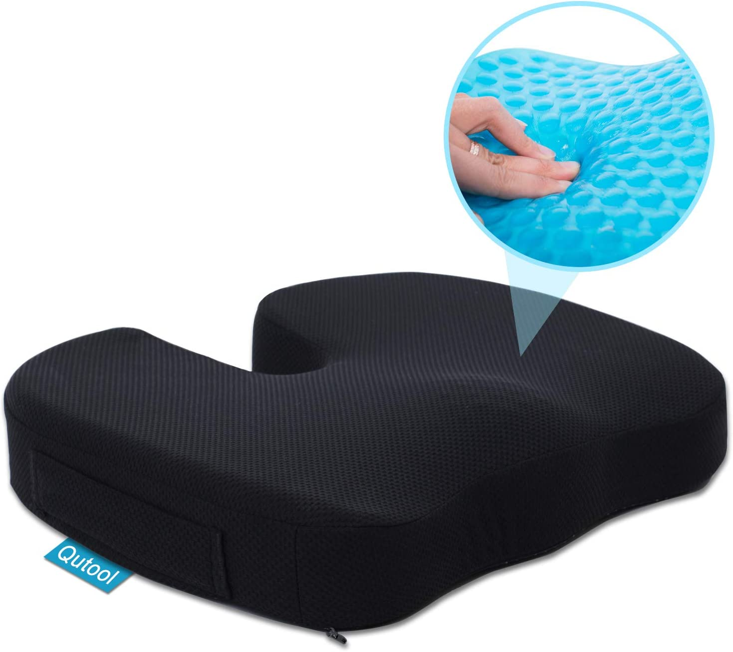 Gel Seat Cushion for Office Chair Car Wheelchair Orthopedic Memory Foam Support Pillow for Sciatica, Tailbone, Lower Back Pain Relief – Washable Breathable Cover – Non-Slip Bottom