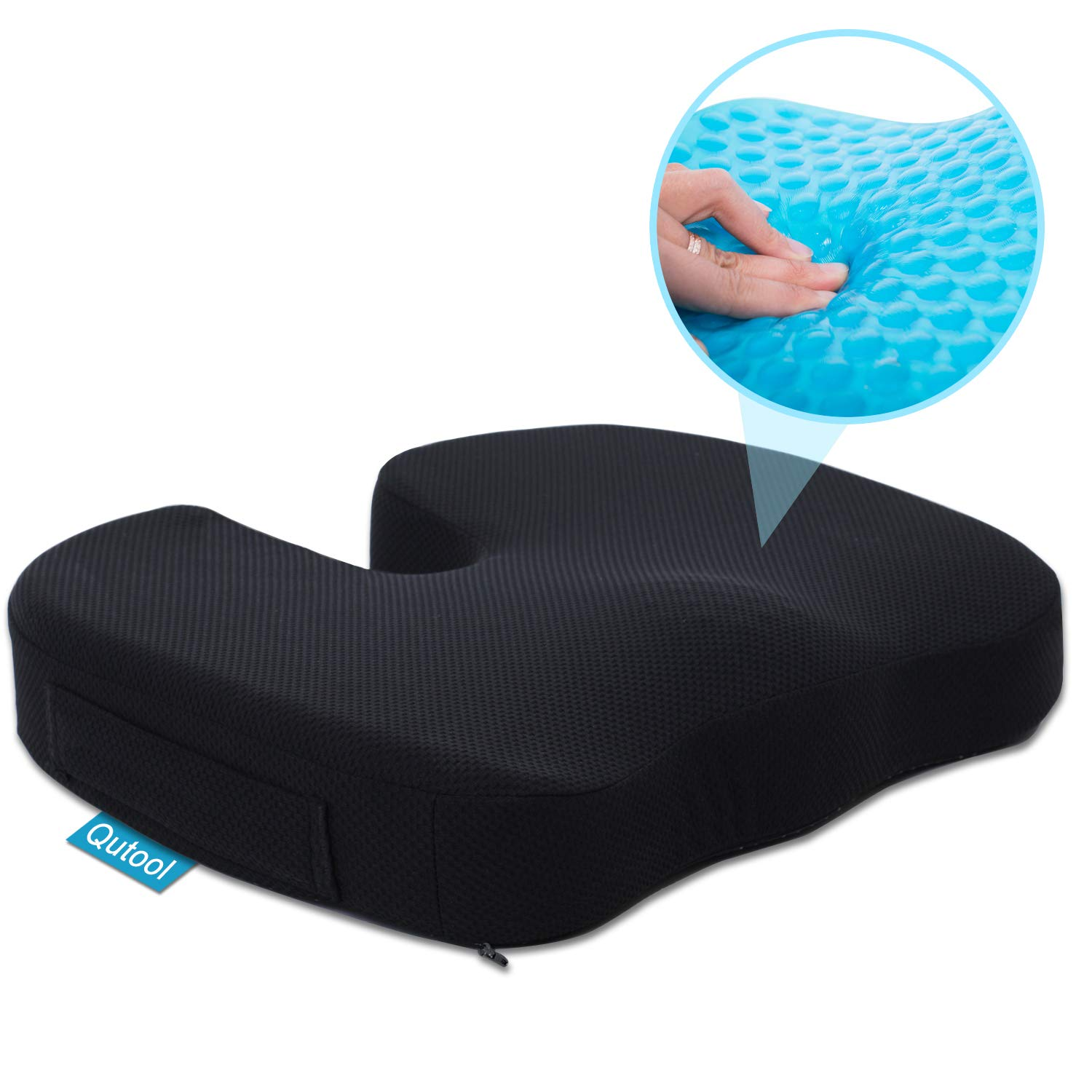 Gel Seat Cushion for Office Chair Car Wheelchair Orthopedic Memory Foam Support Pillow for Sciatica, Tailbone, Lower Back Pain Relief - Washable & Breathable Cover - Non-Slip Bottom