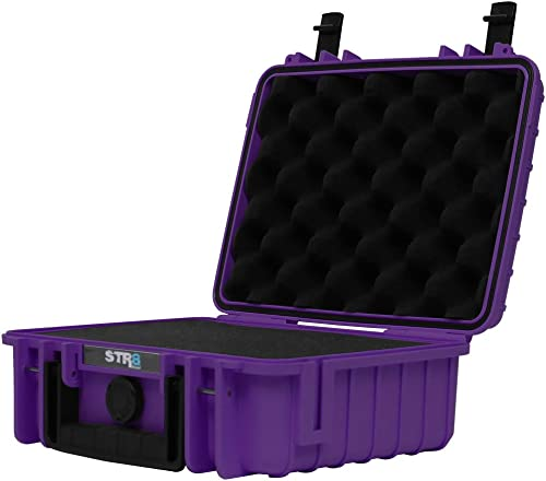 STR8 Brand 10 Weather Resistant, Smellproof, Lockable, Glass Protector, Outdoor Carrying Case for Multi-Purpose with Pre Cut Grid Configuration Foam – STR8BRAND WICKED PURPLE