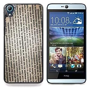 """Qstar Arte & diseño plástico duro Fundas Cover Cubre Hard Case Cover para HTC Desire 826 (Texto del periódico de la lectura del libro de la vendimia"""")"""
