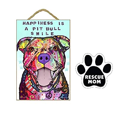 "Black Pit Bull Colorful 5x5/"" Pawprint Magnet Dog"