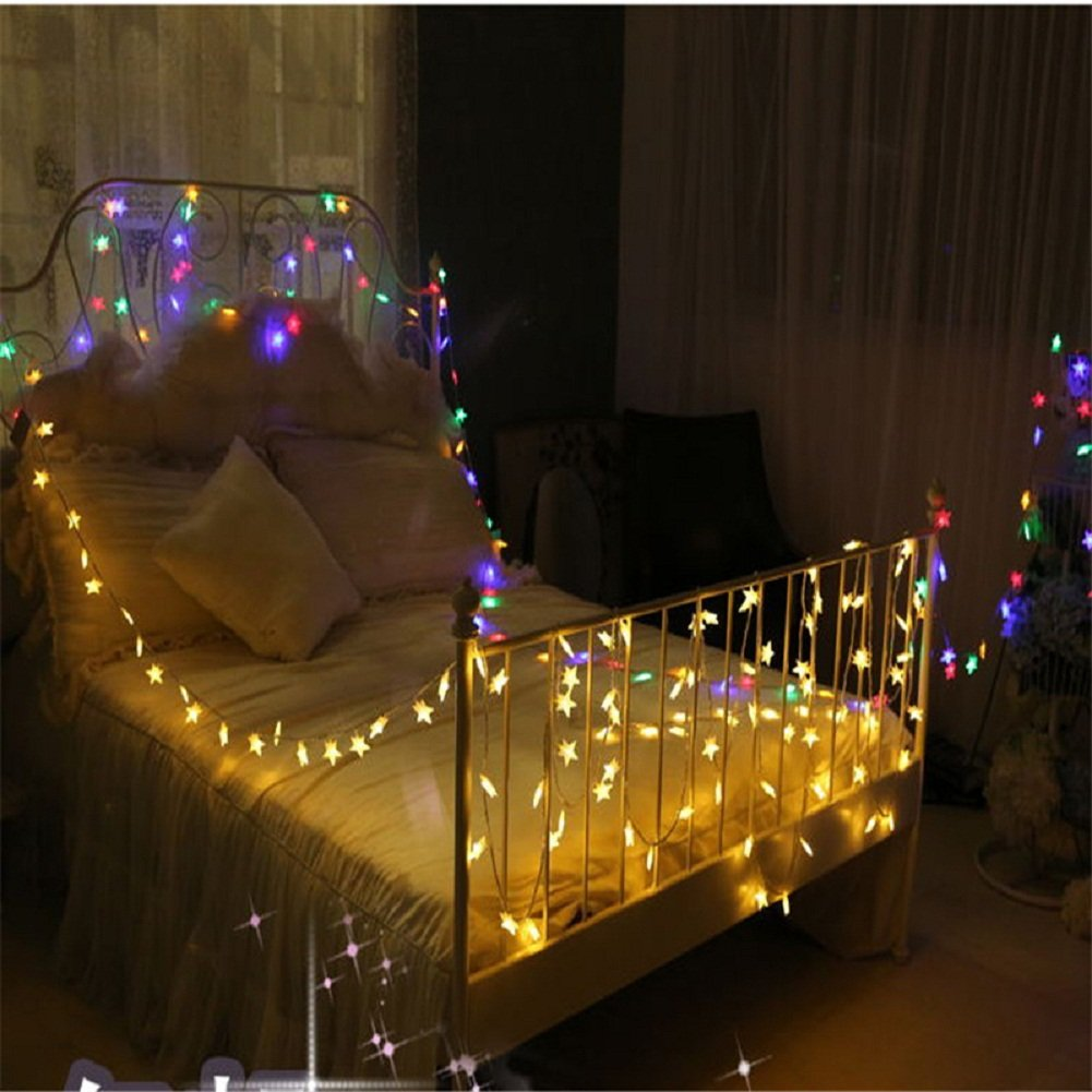 BJYHIYH Battery Powered String Lights 16ft 40 LED Star Fairy Lights Bedroom Christmas Wedding Party Decoration(Warm White) by BJYHIYH (Image #6)