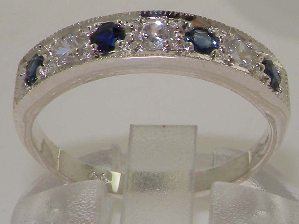 LetsBuyGold 14k White Gold Natural Diamond and Sapphire Womens Band Ring 0.18 cttw, H-I Color, I2-I3 Clarity