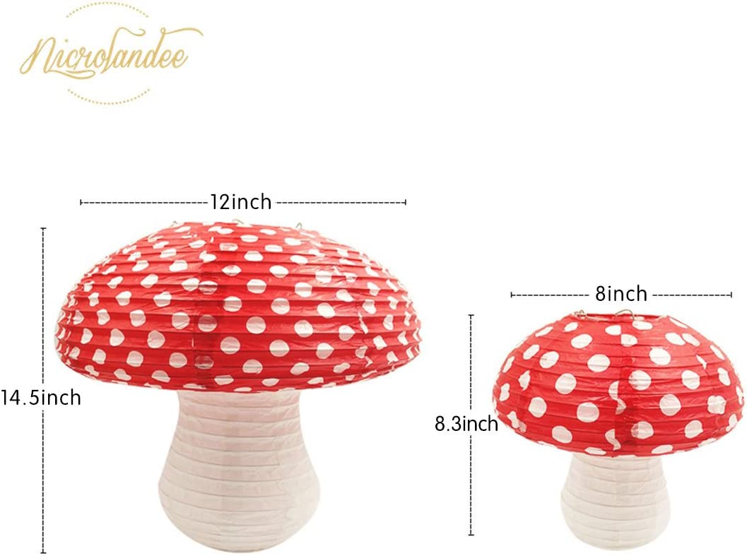 NICROLANDEE 3D Mushroom Shaped Hanging Paper Lanterns for Fairy Party Alice in Wonderland Theme Woodland Hoodwinked Baby Shower Birthday Room Nursery Decor 2 PCS Different Sized