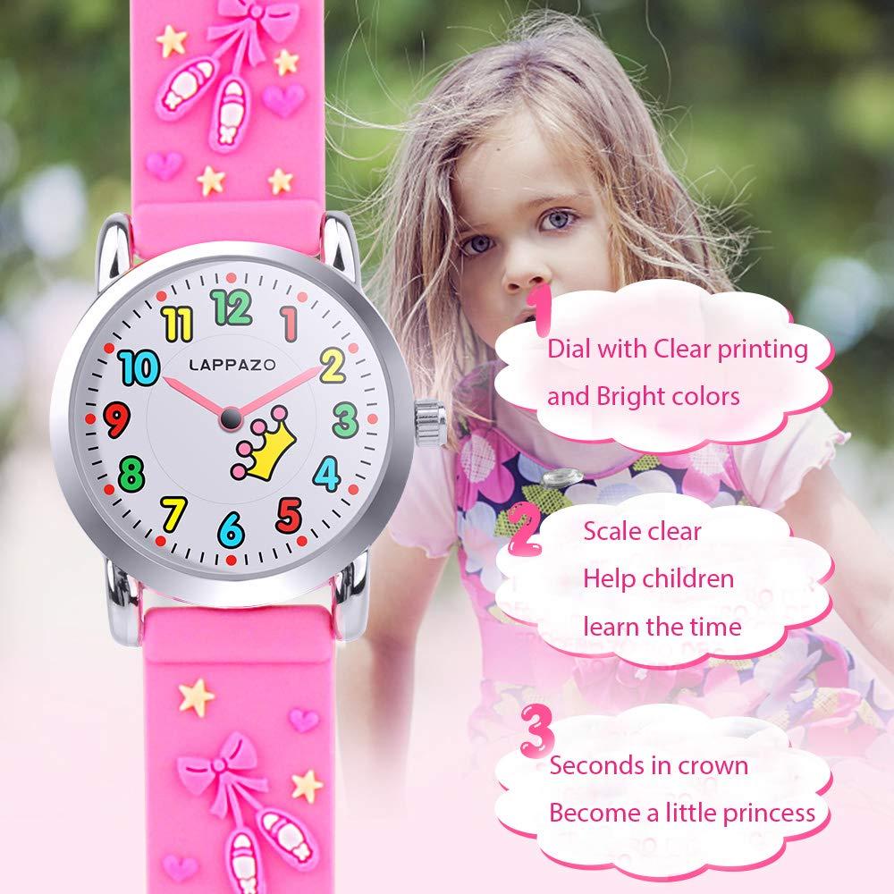 Kinder Mädchen Uhr Analog 3D-Karikatur Prinzessin Kit mit Schmetterling Silberkette Geschenkkarton Geschenk für Mädchen 3-15 Jahre Alt