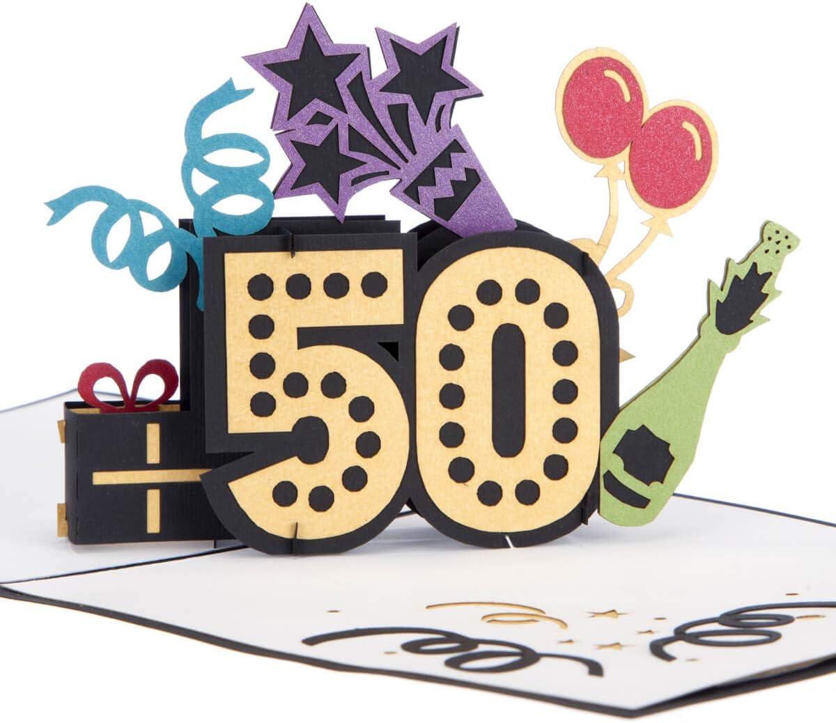 Cardology 50th Birthday Pop Up Card 50th Birthday Cards 50th Birthday Cards For Wife 50th Birthday Gifts 50th Birthday Ideas Handmade Amazon Co Uk Office Products