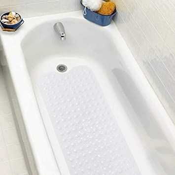 tapis de bain 100x40cm avec ventouses massage tapis de baignoire blanc antidrapant matriau tpr tapis de - Tapis Baignoire