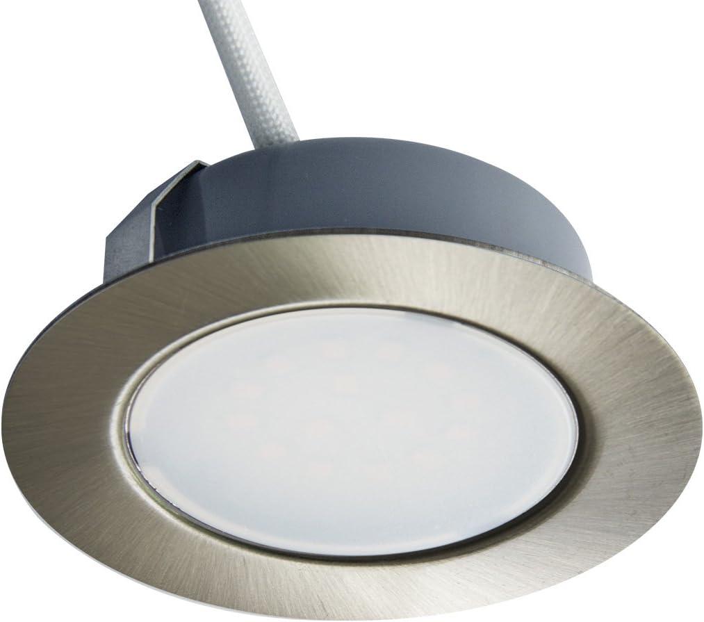 Trango Juego de 1 - 12V AC / DC Foco empotrable para muebles LED, empotrado, luz de techo TGG4E-018 en cromo para reemplazar luces de muebles convencionales G4 luces de campana de