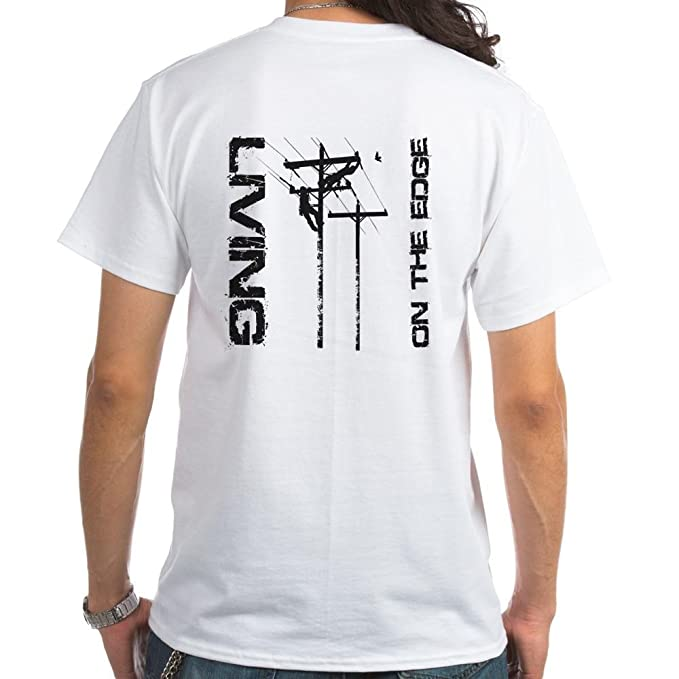 19b70cbc03f CafePress Lineman Living on The Edge White T-Shirt 100% Cotton T-Shirt
