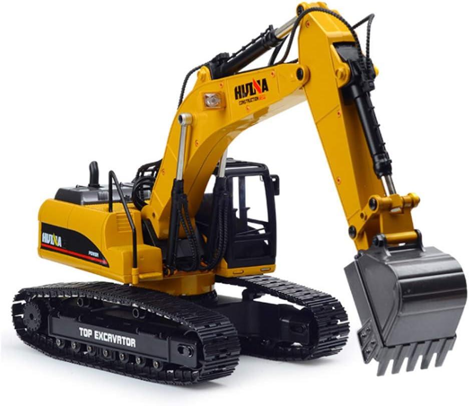 SHZJ Control Remoto para NiñOs Y Adultos Modelo De Excavadora Profesional 1:14 2.4G AleacióN Completa 23CH Metal Fundido Fuera De Carretera Excavadora HidráUlica RC con FuncióN De Humo