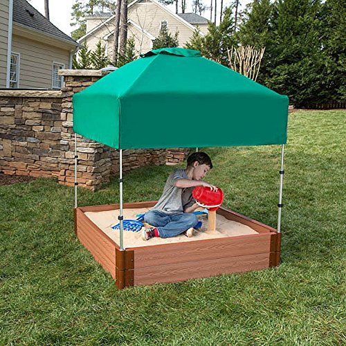 Frame It All Two'' Series 4ft. x 11in. Composite Square Sandbox Kit with Canopy/Cover by Frame It All