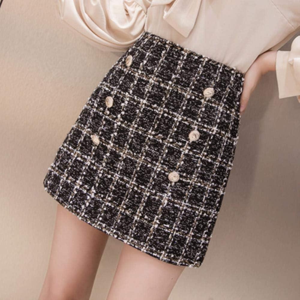 HSDFKD Mini Falda De Tweed De Otoño para Mujer Faldas De Tela ...