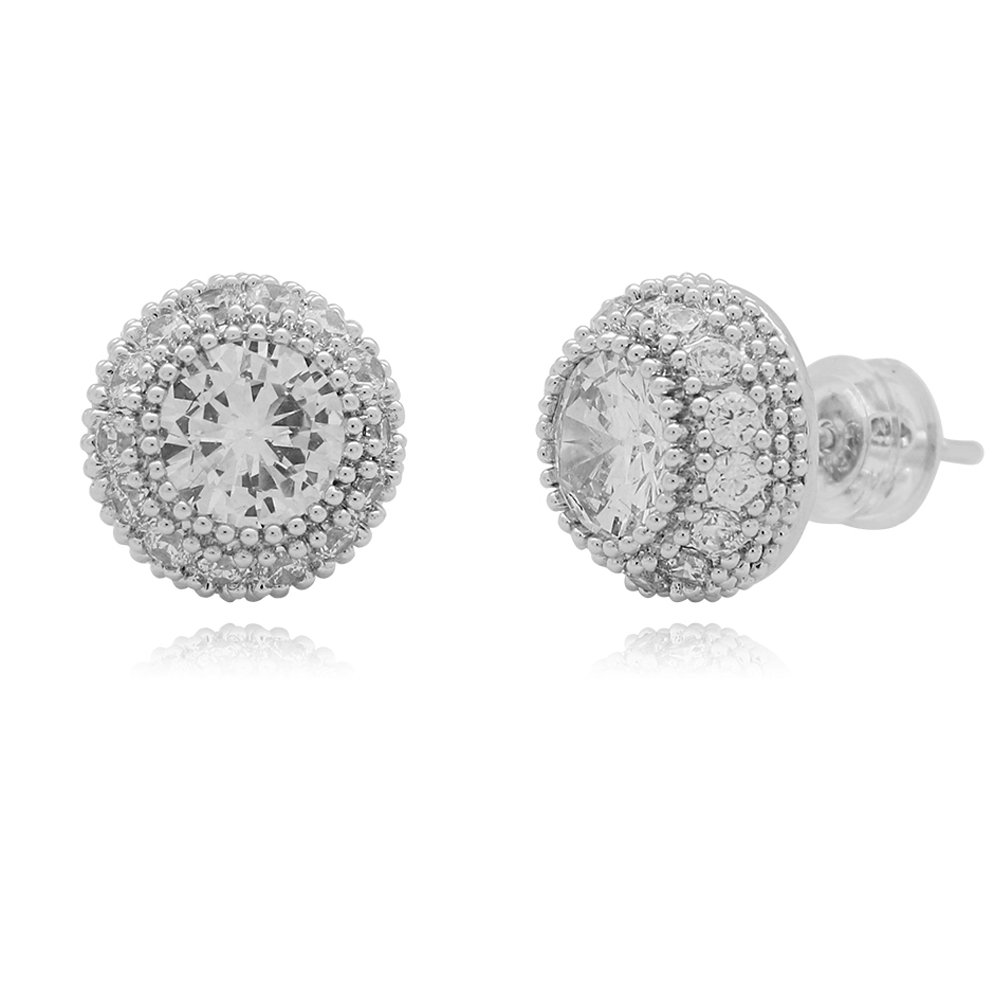 Amazon.com  Lureen Gold Silver 11mm Round Iced Out Pave Full CZ Stud Earring  of Mens Womens (Silver)  Jewelry d0e35820c23
