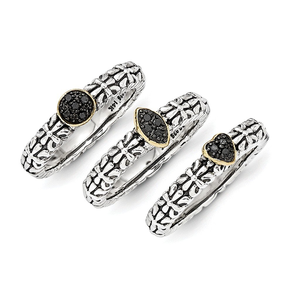 Roy Rose Jewelry Sterling Silver with 14K Yellow Gold Black Diamond 3 Stackable Rings Size 8