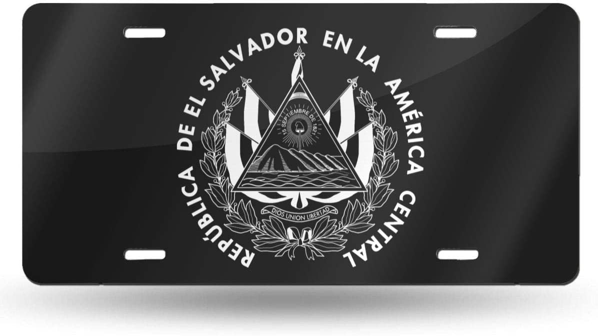 WAZZ CHUD Coat of Arms of El Salvador Novelty License Plate Decorative Car Front License Plate Vanity Tag Aluminum Car Plate 6 X 12 Inch Car Plate License Plate Frame