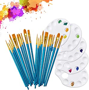 20Pcs Paint Brushes with 5Pcs Paint Tray Palettes for Kids and Adults - Paint Pallet and Brush Set for Acrylic Oil Watercolor Painting & Body Face or Rock Painting (25 Pieces)