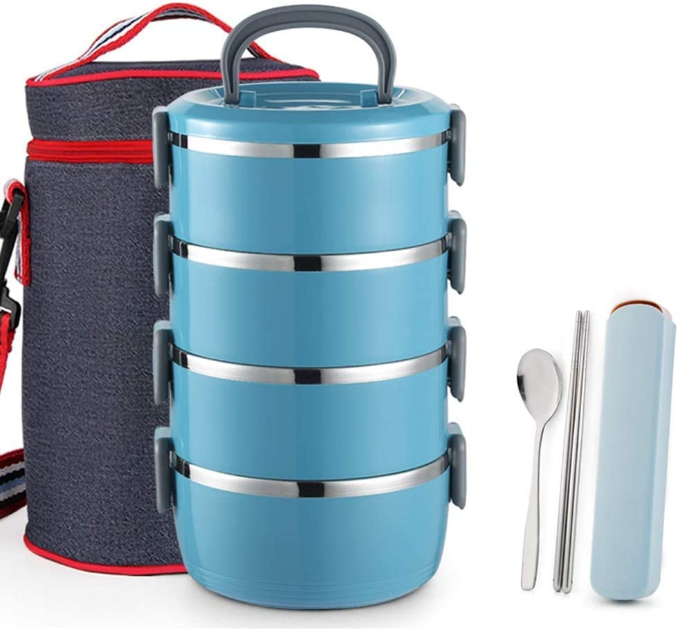 LZQBD Lunch Containers,Bento Lunch Box, Leakproof Thermal Lunch Box Stainless Steel, Food Storage Container with Portable Lunch Bag,Blue,4 Layer