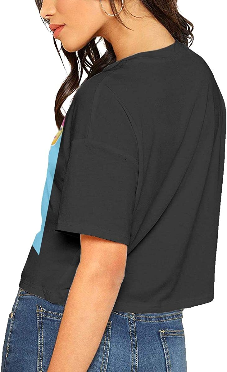 Chouven Womens Crop Top Giraffe Colorful Crew Neck Short Sleeve Tee Shirt