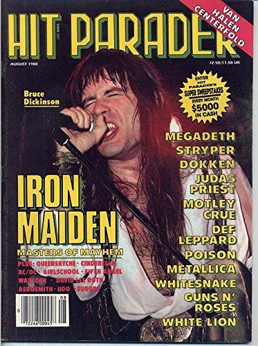 Hit Parader Magazine IRON MAIDEN Bruce Dickinson VAN HALEN Joey Tempest AEROSMITH Axl Rose TOM KEIFER Steve Vai POISON August 1988 C