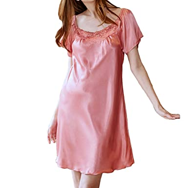 f9d66614df Hibote Sexy Nightgown Women Lingerie Faux Silk Sleepwear Sexy Lingerie Nightdress  for Women Sleepshirts Coral Red