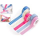 DSstyles 5 Rolls Colorful Washi Tapes Set Creative Scrapbooking Craft Masking Tape for Wrapping and Arts Crafts 10M