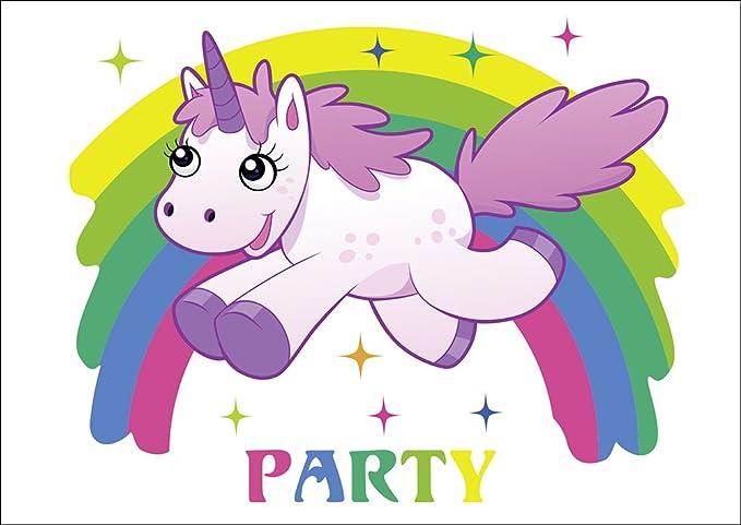 10 tarjetas de invitación Unicornio Unicornio con arco iris/Cumpleaños invitaciones Niño Niña Infantil para el cumpleaños infantil, set de 10 unidades: ...