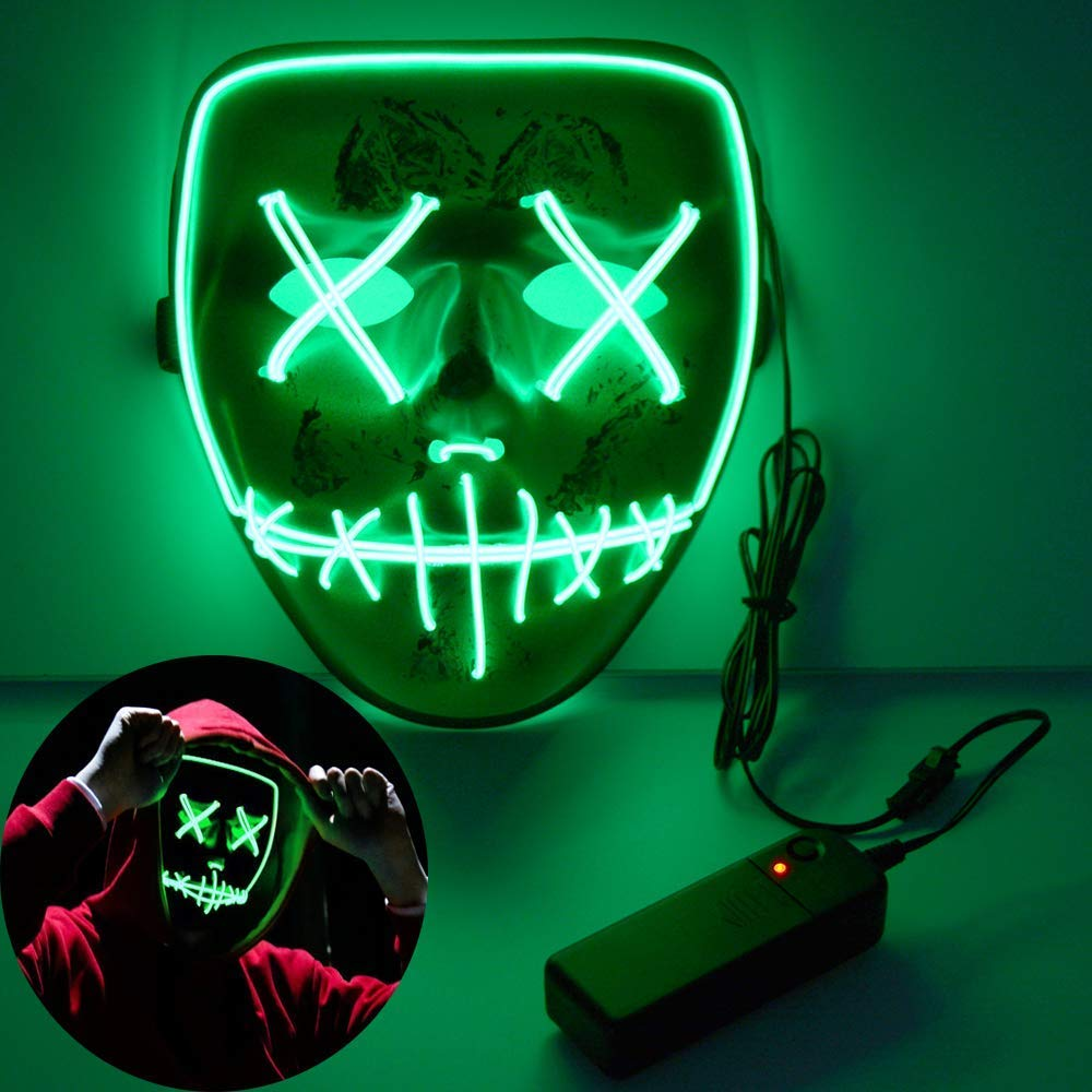 Monstleo Scary Mask Halloween Cosplay Led Costume Mask El Wire Light Up Mask for Halloween.Christmas,Festival Parties