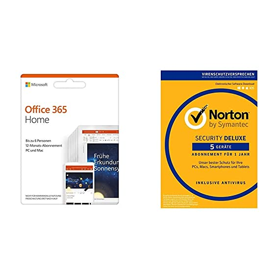 Microsoft Office 365 Home Multilingual Norton Security Deluxe 2019