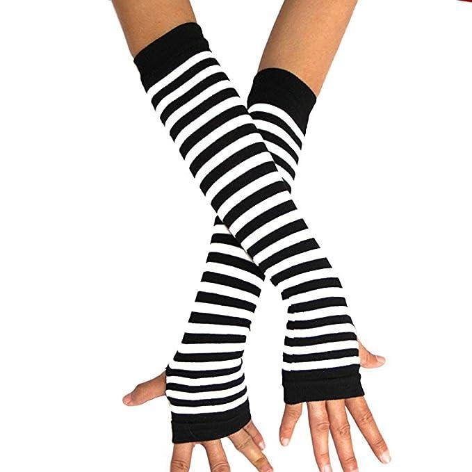lansue Horizontale Streifen Arm Handw/ärmer Fingerlose Handschuhe Verl/ängerte Handschuhe F/äustlinge