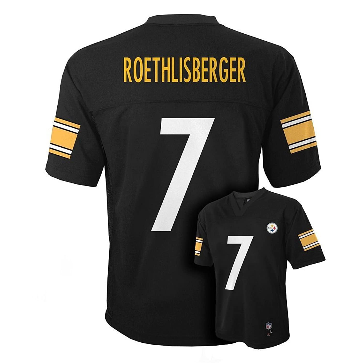 Wholesale Ben Roethlisberger Pittsburgh Steelers NFL Youth Black Home Mid-Tier Jersey (Size Medium 10-12)