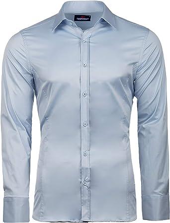 Cipo & Baxx Camisa de negocios para hombre, fácil de planchar, corte ajustado.