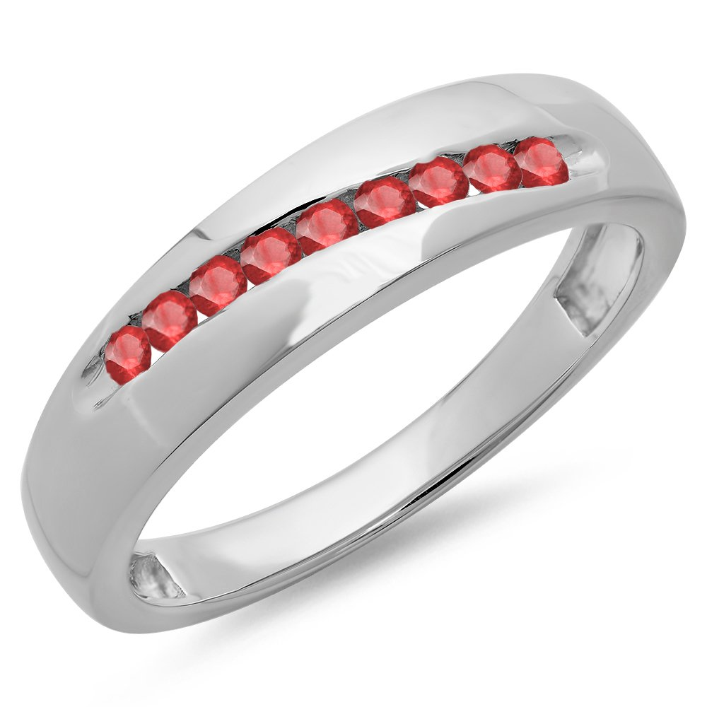 0.33 Carat (ctw) Sterling Silver Round Cut Red Ruby Men's Stackable Wedding Band 1/3 CT (Size 12)