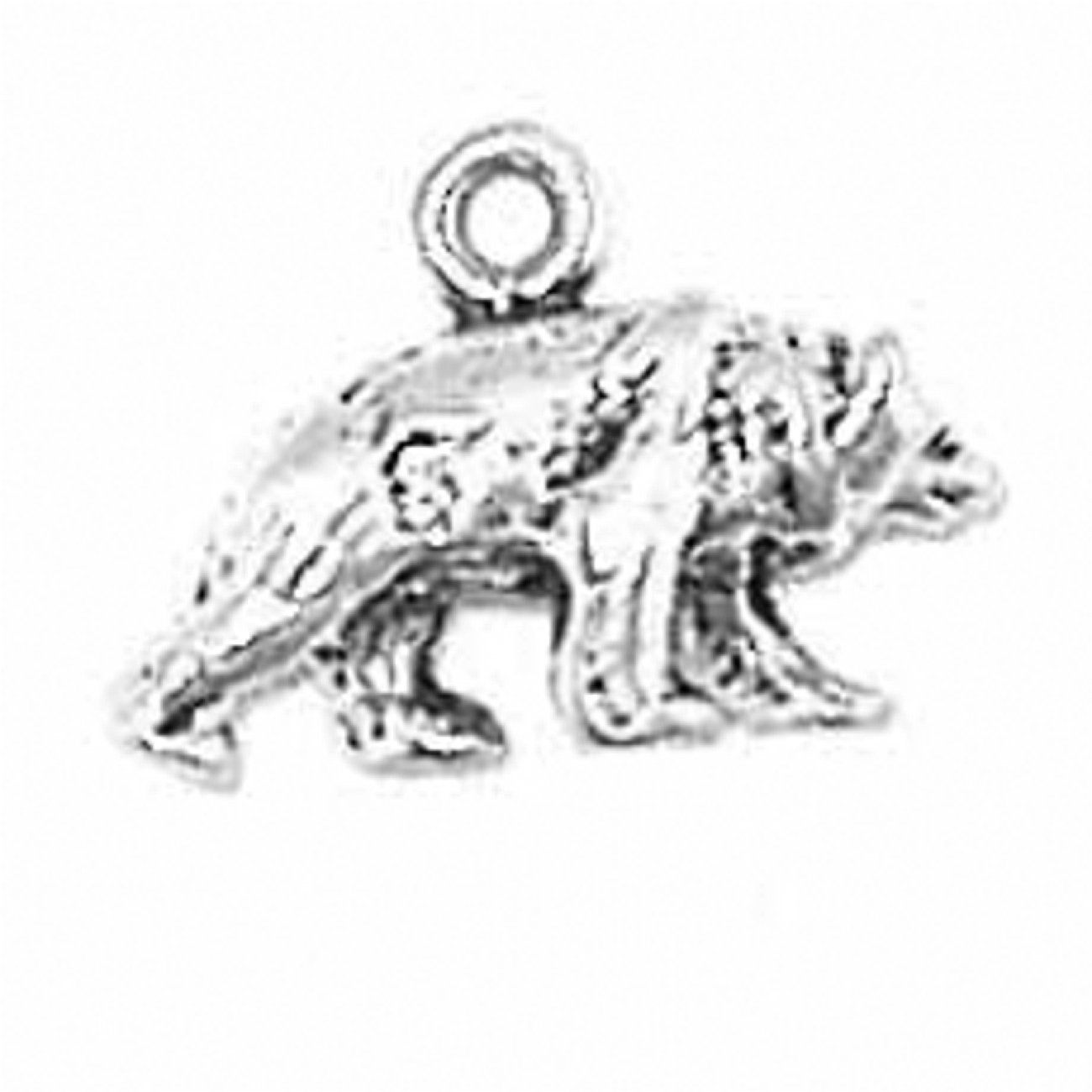 Sterling Silver Girls .8mm Box Chain 3D Small Walking Bear Head Down Pendant Necklace
