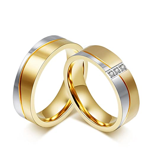 Blisfille 2 Piezas Anillos Oro Compromiso Acero Inoxidable de Cúbicos Zirconia para Día de Los Enamorados