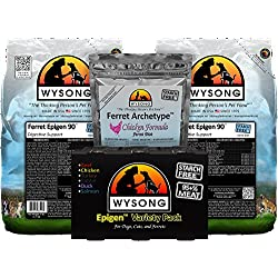 Wysong Ferret Bundle (two-5 lb. bags of Ferret Epigen 90 Digestive Support, one-Epigen Variety Pack (six-12.9 oz. cans), one-7.5 oz. bag of Ferret Archetype Chicken)