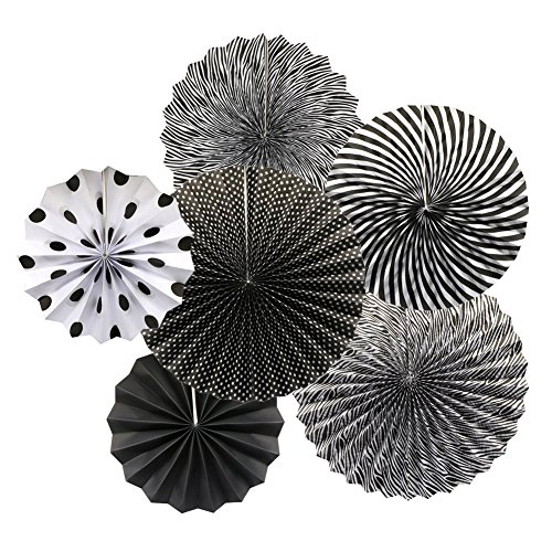 Party Hanging Paper Fans Set, Black Round Pattern Paper Garlands Decoration for Birthday Wedding Graduation Events Accessories, Set of 6
