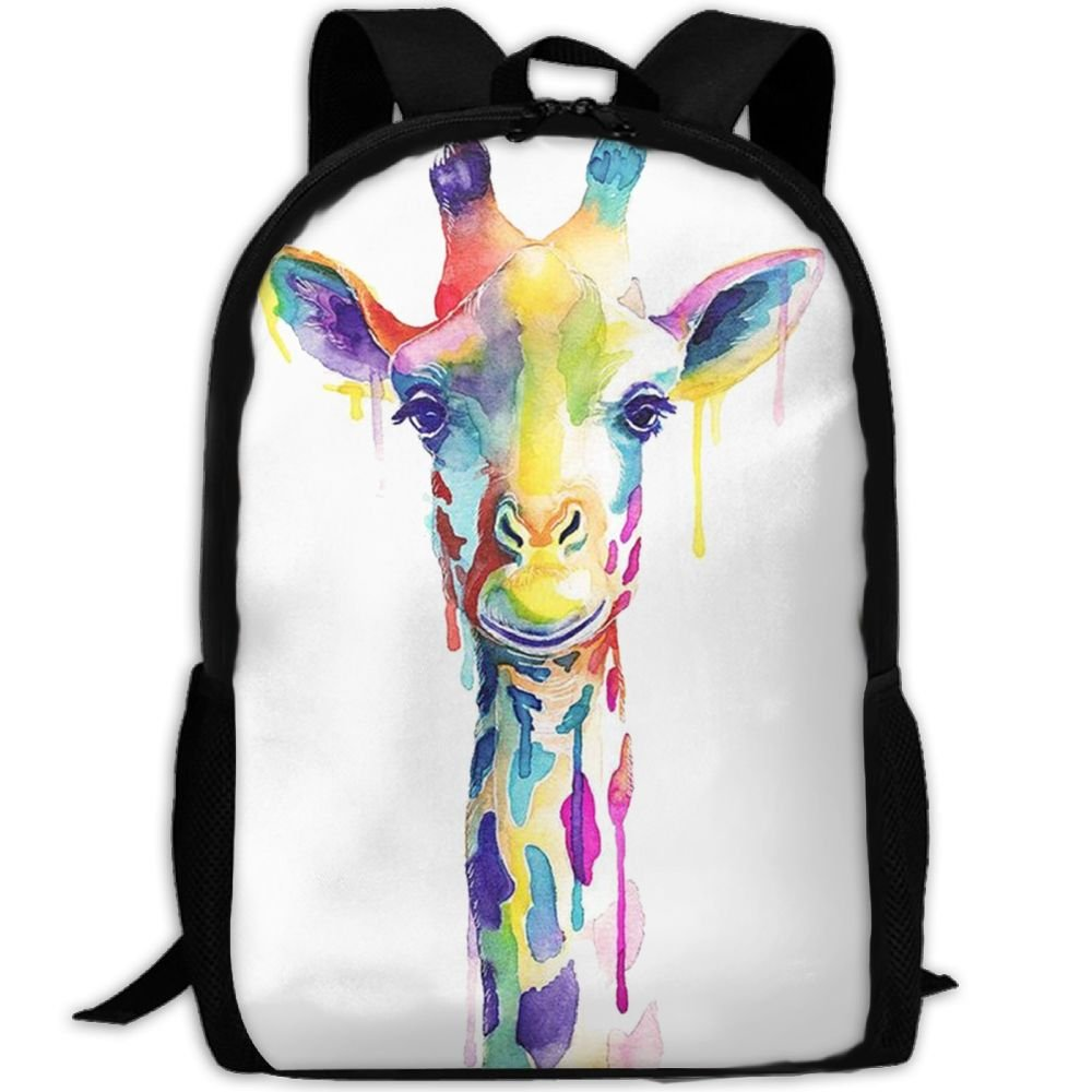Colorful Giraffe Painting Luxury Print Men And Women's Travel Knapsack free shipping