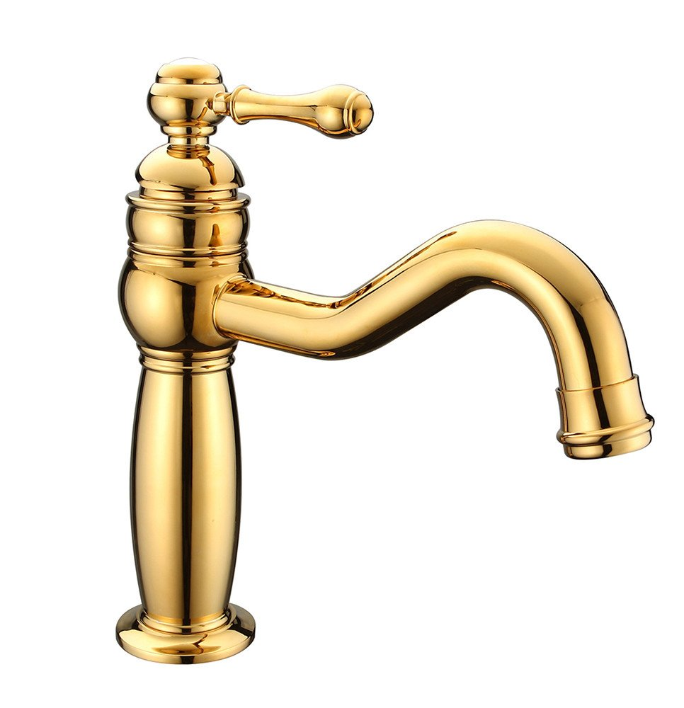 B LHbox Basin Mixer Tap Bathroom Sink Faucet gold plated basin single mixing of hot and cold water faucets, B