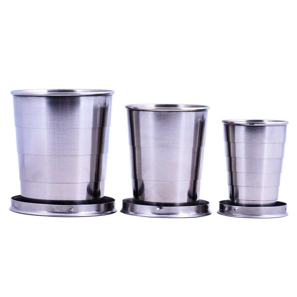 Tinksky 3 Size Stainless Steel Collapsible Travel Cups Portable Folding Water Cup Telescopic for Traveling and Camping