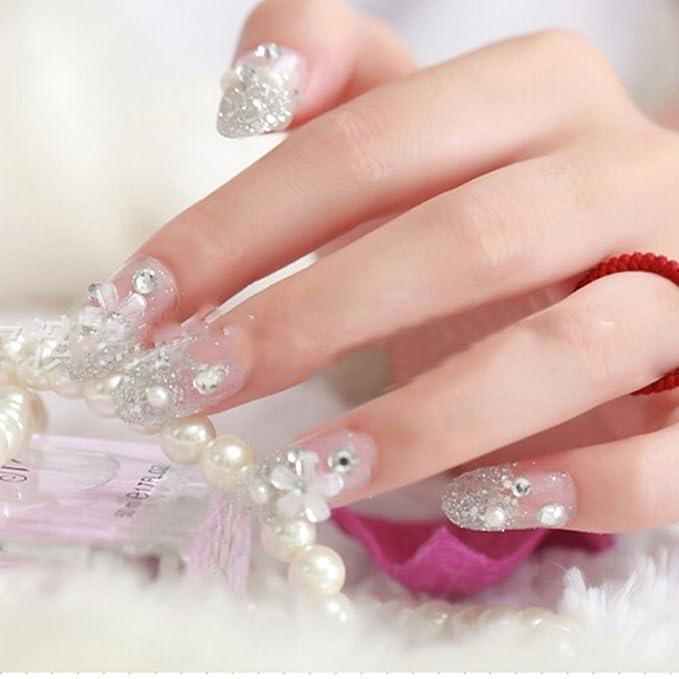 snnplapla 3d novia boda falsa Artificial uñas postizas Tips: Amazon.es: Belleza