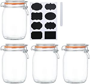 Encheng 32 oz Glass Jars With Airtight Lids And Leak Proof Rubber Gasket,Wide Mouth Mason Jars With Hinged Lids For Kitchen Canisters 1000ml, Glass Storage Containers 4 Pack …