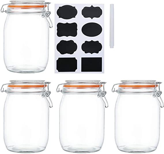 galletas 1000ml cuadrado cereales Botes de almacenamiento de boca ancha para conservar tarros perfectos para guardar caf/é Frascos de vidrio con tapas con bisagras az/úcar harina