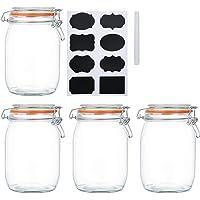 Space Home 4 x 300 mL Galletas Frasco para Conservas Dise/ño L/íneas Cereales Tarro de Vidrio Retro con Tapa Set de 4 Botes de Cocina Vintage