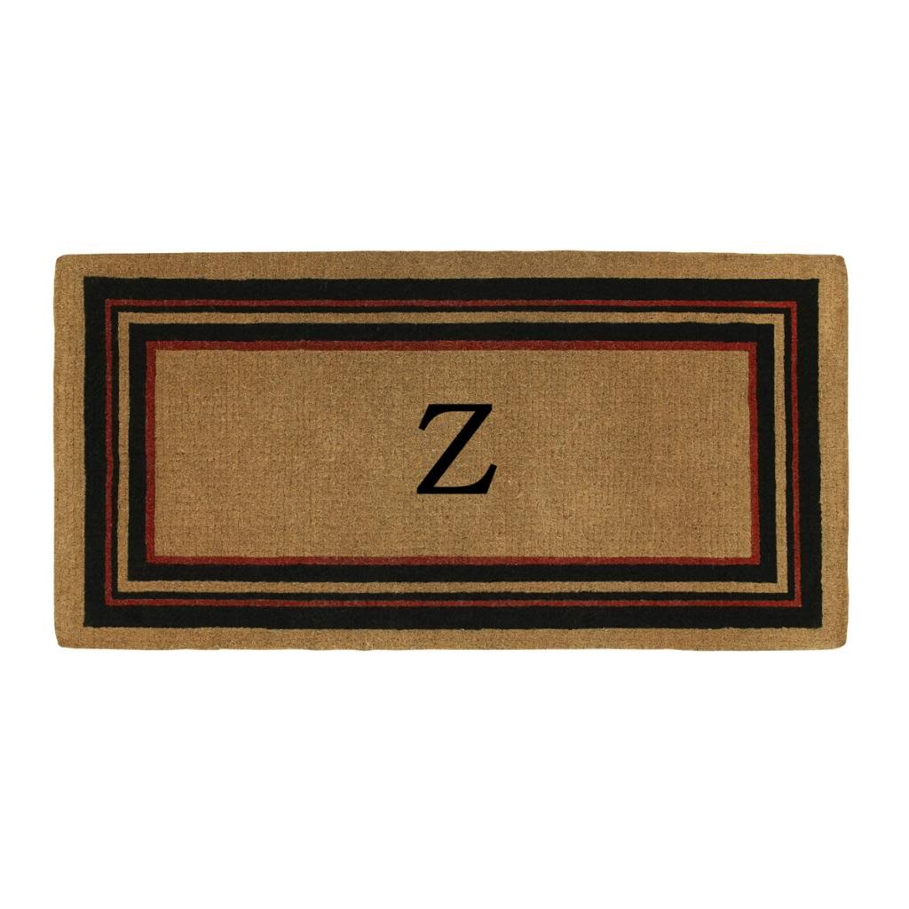 Home & More 180063672Z Esquire Extra-thick Doormat, 3' x 6', Monogrammed Letter Z, Natural/Black/Red