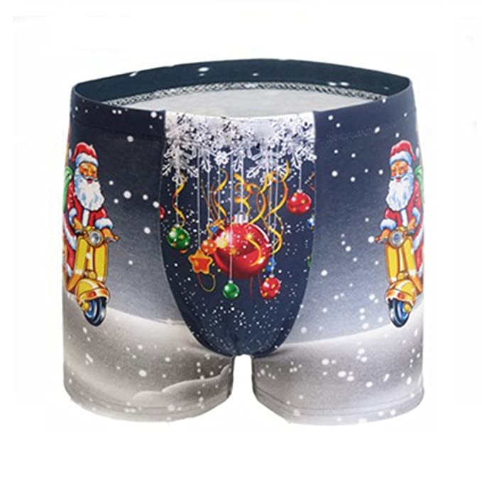 AWEIDS Novelty Diseño hombres de la ropa interior Boxer de algodón de impresión de Papá Noel