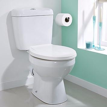 VeeBath Base Modern Ceramic Close Coupled White Bathroom Toilet WC ...